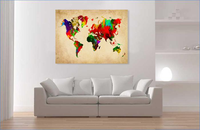 Quadro su tela quadri moderni mappamondo 80 x 60 cm - Cuadros bonitos para salon ...