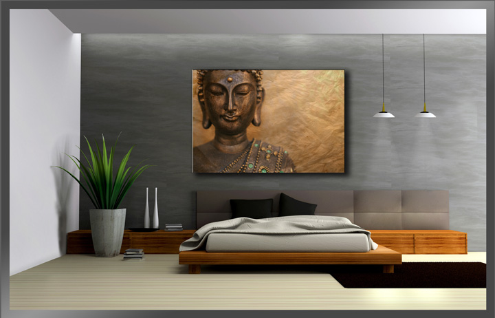 bilder auf leinwand buddha 120x80cm xxl 5041 alle wandbilder fertig gerahmt ebay. Black Bedroom Furniture Sets. Home Design Ideas