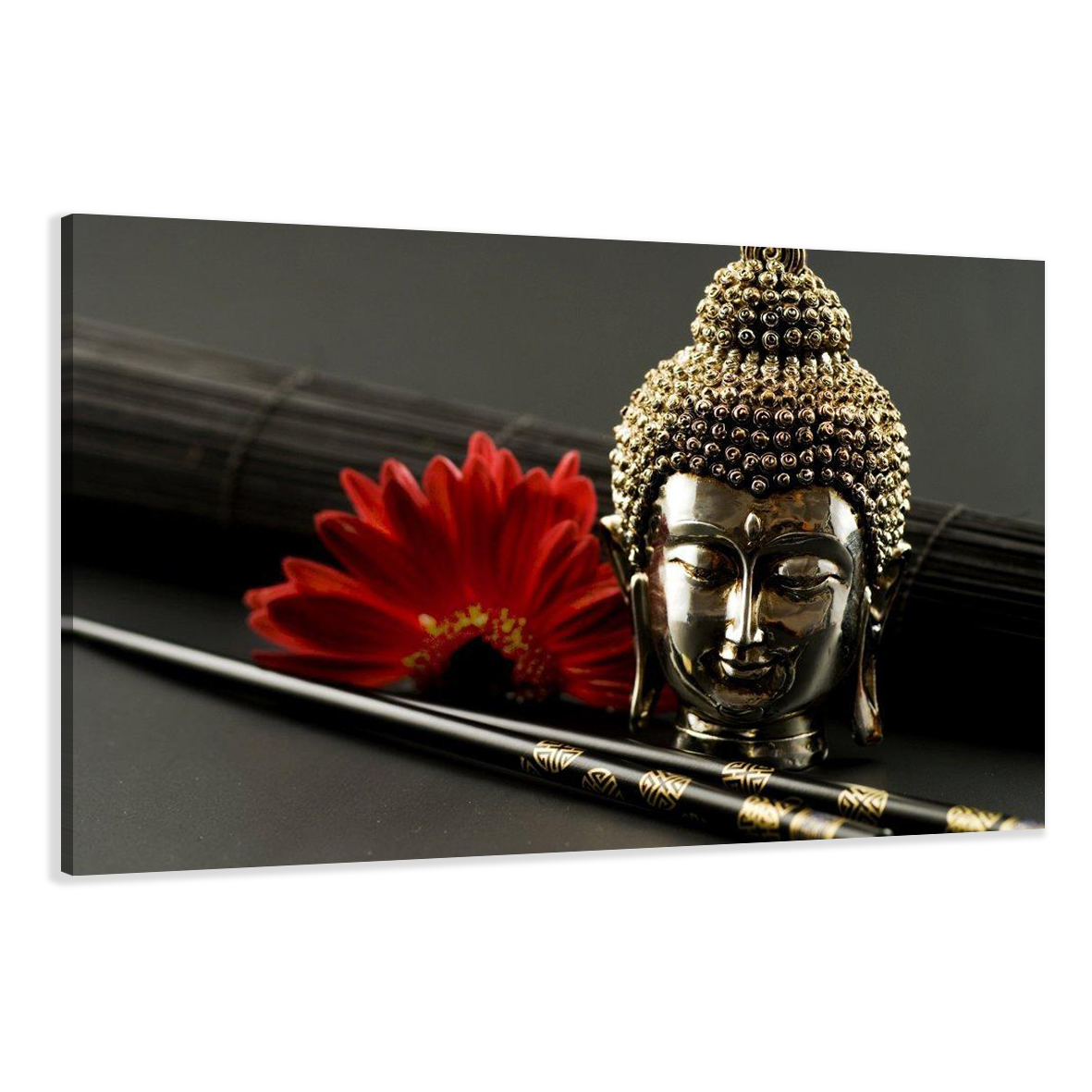 bilder auf leinwand buddha 120x80cm xxl 5043 alle wandbilder fertig gerahmt ebay. Black Bedroom Furniture Sets. Home Design Ideas