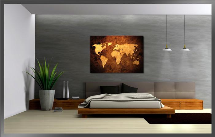 Bilder / Bild Marke Visario echte Leinwand Schnellversand Weltkarte 120x80cm ...