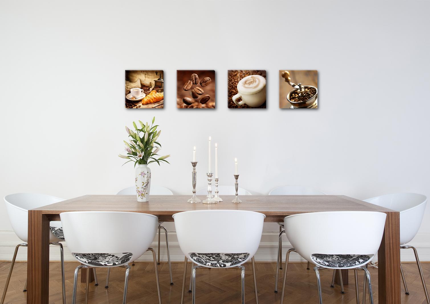 leinwandbilder modern k che kaffee tropfen 4x 30x30cm 6603. Black Bedroom Furniture Sets. Home Design Ideas