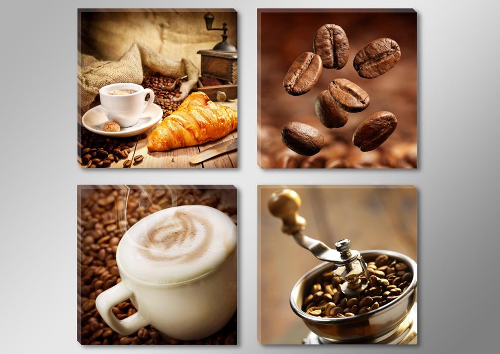 Leinwandbilder für küche  Leinwandbilder modern Küche Kaffee Tropfen 4x 30x30cm 6603+ | eBay