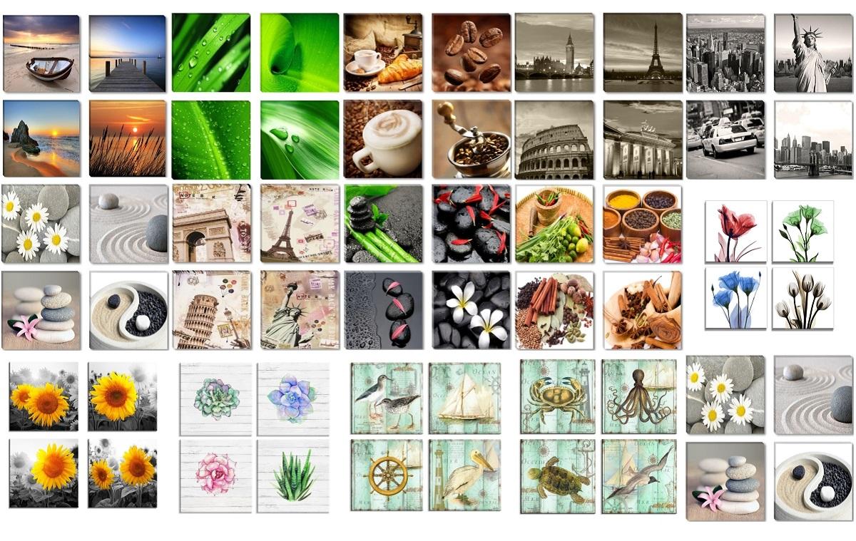 Bilder Sets 4x 30x30cm gerahmt auf Leinwand Markenware edeles Design ...