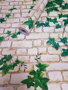 Deko  Folie selbstklebend Naturstein hell weiß grüne Ranke 3013