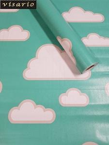 Deko  Folie selbstklebend Wolken blau türkis grün Kinderzimmer 3028