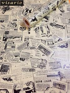 Deko  Folie selbstklebend Zeitung Gazette Schrift Vintage 3029