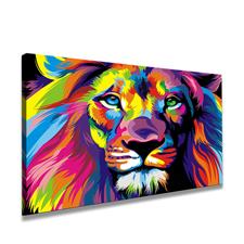 Leinwand Bild fert gerahmt Löwe bunt 80 x 60cm Nr.4001