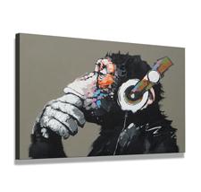 Leinwand Bild fert gerahmt Affe mit Kopfhörer 80cm XXL 3 4002