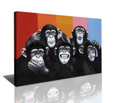 Leinwand Bild fert gerahmt Affen 80x60 cm 4004