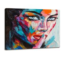 Leinwand Bild fert gerahmt Frau Gesicht bunt 80x60 cm 4006