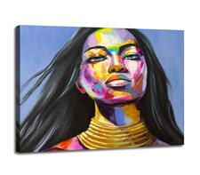 Leinwand Bild fert gerahmt Frau Gesicht bunt 80x60 cm 4007