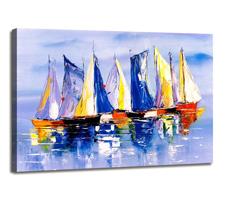 Leinwand Bild fert gerahmt bunte Segelschiffe 80x60 cm 4009