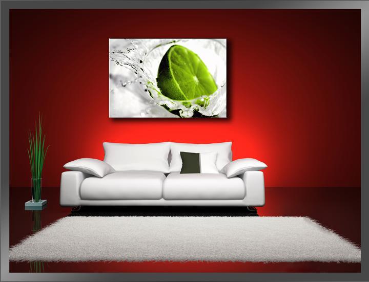 Bild Marken Bilder Leinwand auf Rahmen Limette grün 80cm XXL 3 4131/>