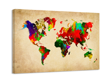 Leinwand Bild fert gerahmt Weltkarte 80cm XXL 3 4138