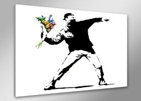 Leinwand Bild Banksy fert. gerahmt 80x60 cm  4170