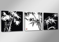 Leinwand Bild fert gerahmt Bambus schwarz weiss 150cm XXL 3 4202
