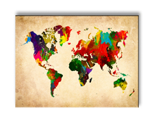 """Picture on canvas length length 15.7"""" height 11.8"""" Nr 4301 Worldmap"""