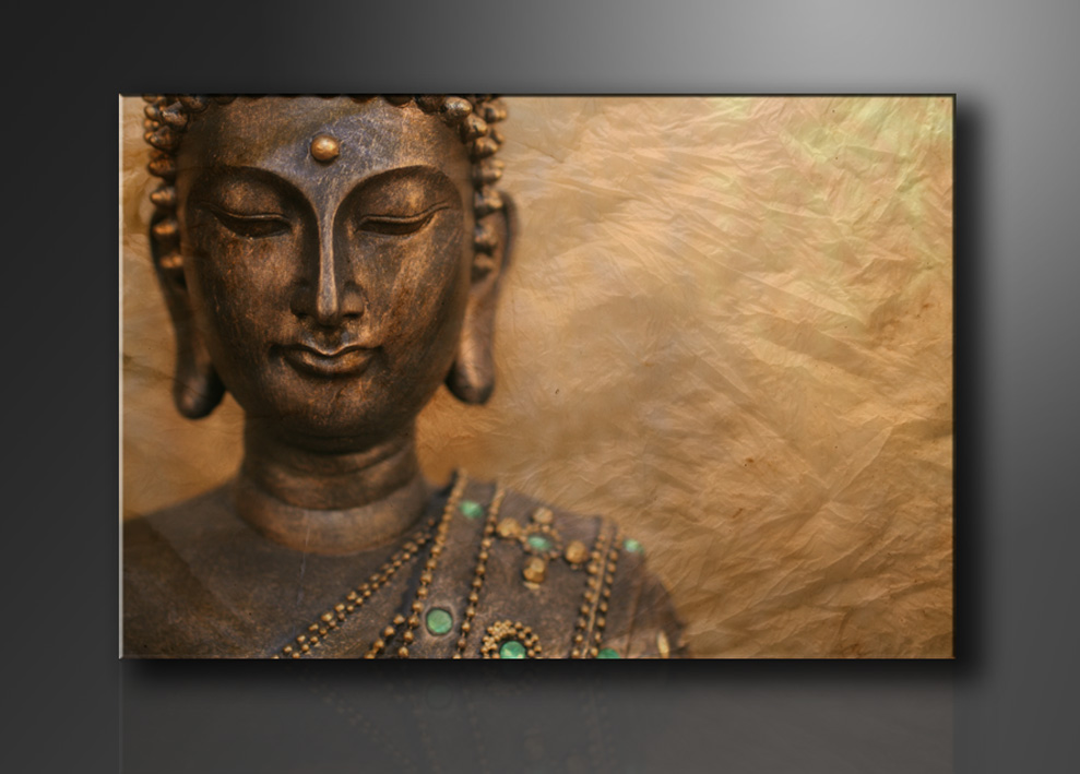buddha bilder fertig gerahmt bild 120x80cm xxl 5041. Black Bedroom Furniture Sets. Home Design Ideas
