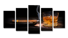Leinwand Bild fert gerahmt zigarre whiskey 200cm XXL 5 6320