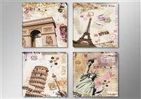 "Pictures on canvas length length 4 x 12"" height 12"" Nr 6610 abstract collage cities"