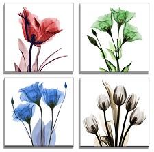 Leinwand Bild fert gerahmt Blumen 4x30cm XXL 4 6611